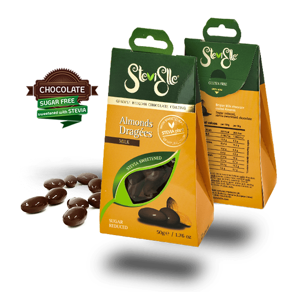 GENUINE BELGIAN CHOCOLATE COATING DRAGEES STEVIA SWEETENED, NO ADDED SUGAR